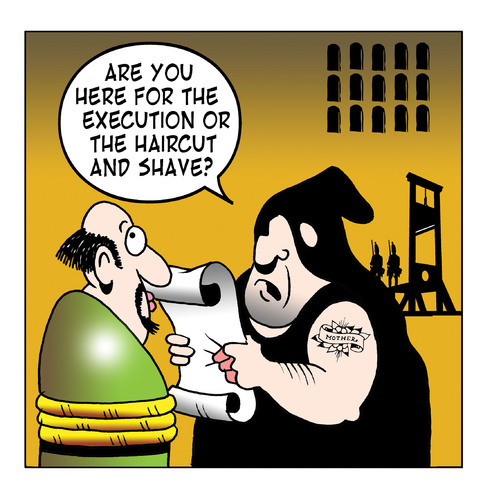 Cartoon: haircut and shave (medium) by toons tagged guillotine,beheaded,french,revolution,haircut,shave,hairdresser,capital,punishment