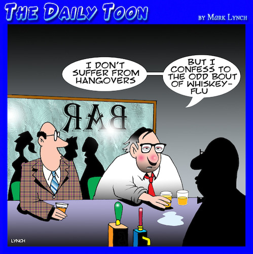 Cartoon: Hangovers (medium) by toons tagged flu,hangovers,whiskey,drunks,flu,hangovers,whiskey,drunks