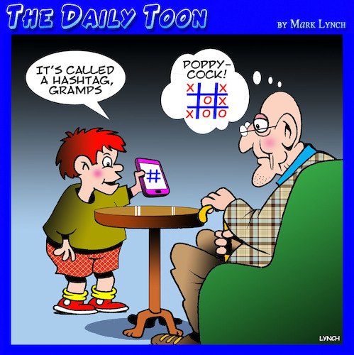 Cartoon: Hashtag (medium) by toons tagged hashtags,tic,tac,toe,naughts,and,crosses,grandparents,smartphones,iphones,twitter,email,address,hashtags,tic,tac,toe,naughts,and,crosses,grandparents,smartphones,iphones,twitter,email,address