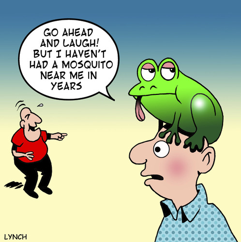 Cartoon: insect repellent (medium) by toons tagged frogs,toads,mosquito,insects,flys