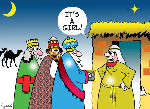 Cartoon: its a girl (medium) by toons tagged christmas,jesus,three,wise,men,nativity,bethlehem,xmas