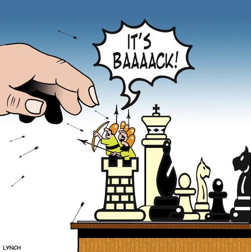 Cartoon: its back (medium) by toons tagged chess,board,games,war,castles