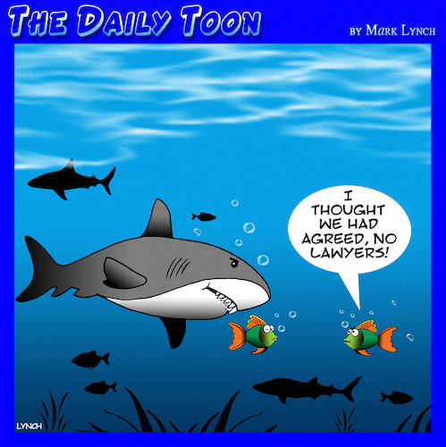 Cartoon: Lawyers (medium) by toons tagged lawyers,attorney,sharks,fish,legal,representation,divorce,lawyers,attorney,sharks,fish,legal,representation,divorce