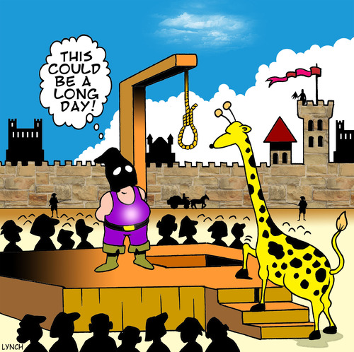 Cartoon: long day (medium) by toons tagged hangman,girrafe,animals,executioner,medievil,torture,guillotine,death,hanging
