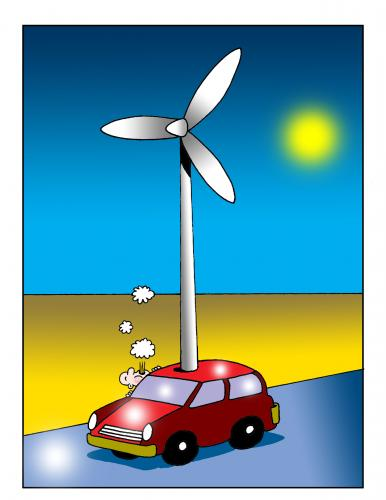 Cartoon: out of gas (medium) by toons tagged wind,farm,auto,environment,alternate,energy,marooned