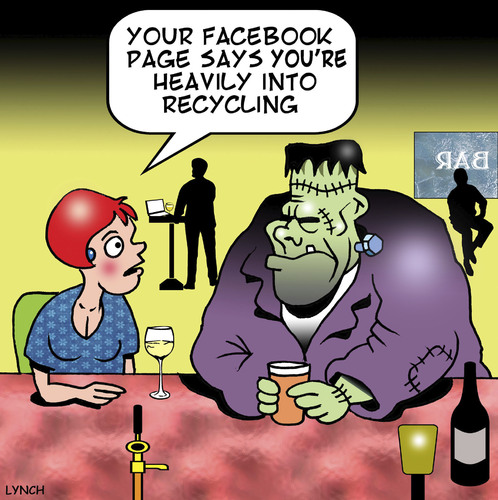 Cartoon: Recycling (medium) by toons tagged frankenstein,facebook,dating,online,recycling