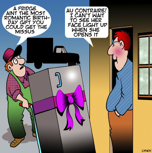 Cartoon: Romantic gift (medium) by toons tagged gifts,birthday,man,delivery,fridge,birthdays,birthdays,fridge,delivery,man,birthday,gifts