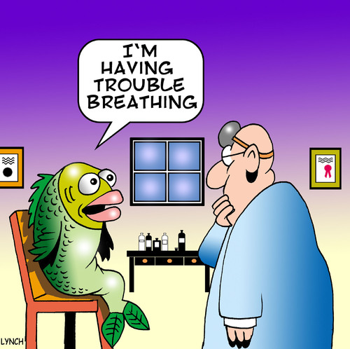 Cartoon: trouble breathing (medium) by toons tagged doctor,fish,vet,surgery,nurse,medical