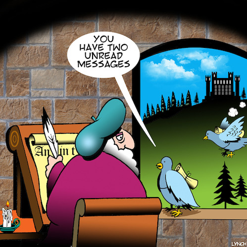 Cartoon: Unread messages (medium) by toons tagged carrier,pigeons,mail,medieval,systems,homing,you,have,ancient,email,carrier,pigeons,mail,medieval,systems,homing,you,have,ancient,email