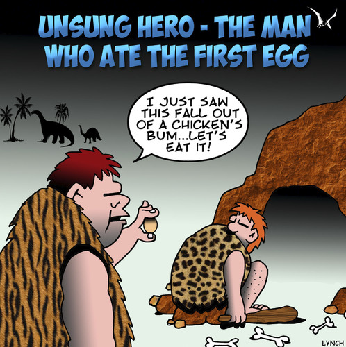 Cartoon: Unsung hero (medium) by toons tagged prehistoric,man,chicken,eggs
