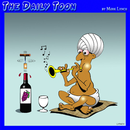 Cartoon: Wine corkscrew (medium) by toons tagged snake,charmer,corkscrew,flute,wine,turban,snake,charmer,corkscrew,flute,wine,turban