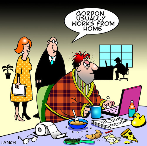 Cartoon: works from home (medium) by toons tagged work,from,home,self,employed,business,office,employment,morning,person,computer,breakfast,gen