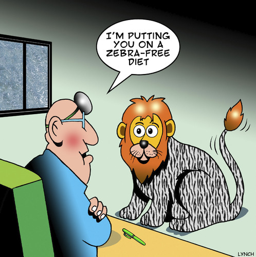 Cartoon: Zebra-free diet (medium) by toons tagged lions,zebras,diets,animals,jungle,food,zebra,stripes,overeating,lions,zebras,diets,animals,jungle,food,zebra,stripes,overeating