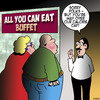 Cartoon: All you can eat buffet (small) by toons tagged salary,cap,buffet,obesity,all,you,can,eat,food,gluttony