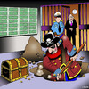 Cartoon: Bank deposit (small) by toons tagged pirates,bank,deposits,chest,of,gold,vault,skull,and,crossbones,buried,treasure