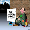 Cartoon: Bitcoins (small) by toons tagged bitcoins,alternative,currency,begging,tramp