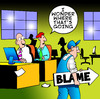 Cartoon: blame (small) by toons tagged blame office business the game politics boss computers gossip guilty sacked fired retrenched