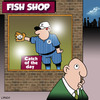 Cartoon: catch of the day (small) by toons tagged fish,and,chips,baseball,catch,of,the,day,sport,fishing,catcher,softball,ball,games