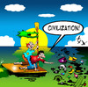 Cartoon: Civilization (small) by toons tagged pollutiom,climate,change,global,warming,co2,oil,spill,civilization,marooned,desert,island