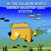 Cartoon: Cult status (small) by toons tagged salmon,sporning,bears,fish,cult,status,hero,figurehead