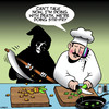 Cartoon: Dicing with death (small) by toons tagged dicing,food,angel,of,death,chefs,with,stir,fry