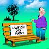 Cartoon: Dry paint (small) by toons tagged wet,paint,caution,idiot,fool,imbecile,stupid
