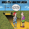 Cartoon: fighting pole vaulters (small) by toons tagged pole,vaulting,olympics,athletics,high,jump,sport,relationships,love,divorce