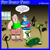 Cartoon: Gym cartoon (small) by toons tagged exercise,bike,motorized,bikes,gym,obese,overweight,fat