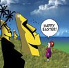 Cartoon: Happy Easter (small) by toons tagged easter,island,holiday,statue,sculpture,tropical