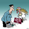 Cartoon: Hello turkey (small) by toons tagged thanksgiving,turkey,food,poultry,supermarket,shopping