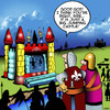 Cartoon: Jumping castles (small) by toons tagged jumping,castles,castle,siege,medieval,catapult,history,armies,playground,equipment,childrens