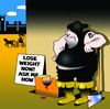 Cartoon: lose weight now (small) by toons tagged weight,loss,programs,diets,dieting,food,gallows,guillotine,execution,obesity,overeating,executioner,decapitated