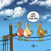 Cartoon: met online (small) by toons tagged online,dating,telegraph,poles,birds