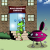 Cartoon: Miss Universe (small) by toons tagged aliens,miss,universe,flying,saucers,rocket,ships,beauty,pageant,space,martians,the