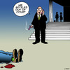 Cartoon: Out of court settlement (small) by toons tagged lawyers,court,proceedings,judges,out,of,settlement,barristers,law,firms