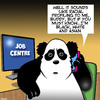 Cartoon: Racial profiling (small) by toons tagged racial,profiling,panda,asian,jobs,employment,job,centre,bears,animals