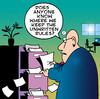 Cartoon: unwritten rules (small) by toons tagged business,office,unwritten,rules,filing,cabinet,regulations,clerk,secretary,paperwork