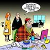 Cartoon: works from home (small) by toons tagged work from home self employed business office employment morning person computer breakfast gen