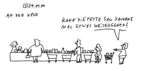 Cartoon: An der Kasse (medium) by Müller tagged kasse,discount,schlangestehen,anstehen,warten
