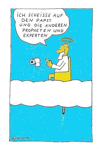 Cartoon: Ich scheisse (medium) by Müller tagged gott,religion,allah,propheten,papst,pope,popo