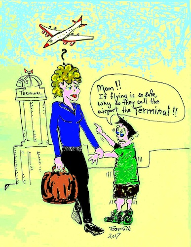 Cartoon: Flight Fright (medium) by Toonstalk tagged airplanes,flight,aviation,airport,fear,terminal,death,accident