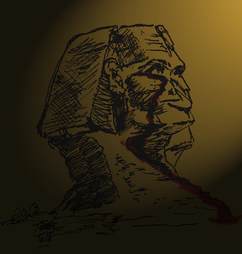 Cartoon: The Witness (medium) by Toonstalk tagged sphinx,egypt,change,violence,witness,sacrifice,will,survival,history,blood,killing,political,mankind,solutions