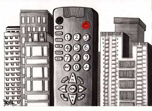 Cartoon: CITY OF REMOTE CONTROL (medium) by majezik tagged city,metropol,technology