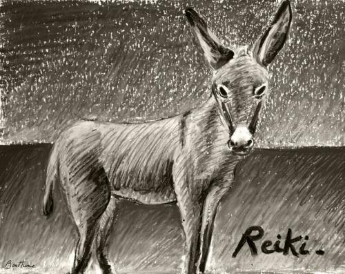 Cartoon: Reiki (medium) by BenHeine tagged ane,donkey,animal,ben,heine,reiki,horse,cheval,countryside,campagne,braives,belgium,sepia,monochrome,champs,field,peaceful,nature,tame,dompter,amadouer,oil,pastel,paturer,grass,horizon,composition,drawing,illustration,earth,farm,ferme,country,croix,de,sai