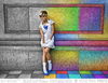 Cartoon: In A Rainbow City (small) by BenHeine tagged photography,model,brussels,color,colorful,benheine,art,rainbow,wall,woman