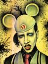 Cartoon: Marilyn Manson  - 2 - (small) by BenHeine tagged marilynmanson,manson,brianhughwarner,hugh,warner,usa,american,crazyness,cry,shout,balls,outrageous,image,artist,watercolor,singer,child,logo,band,rock,punk,charles,manson,marilyn,monroe,ink,black,metal,music,grammy,award,germany,poland,musique,mobscene,ma