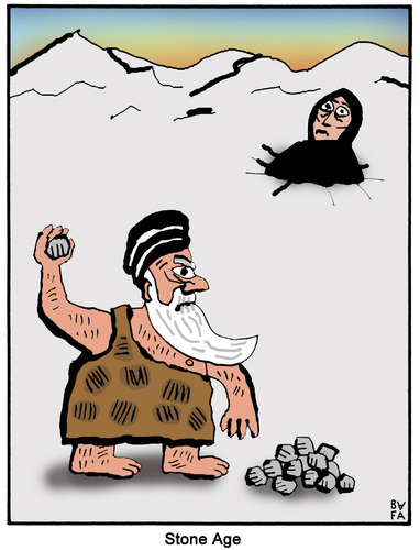 Cartoon: Stone age (medium) by Farhad Foroutanian tagged religie