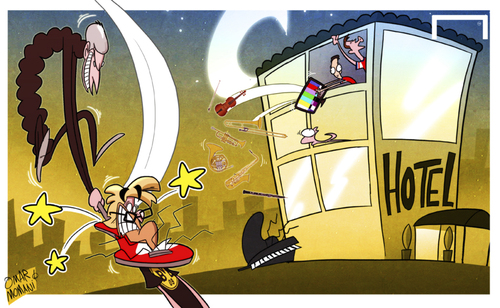 Cartoon: Arsenal rock Dortmund (medium) by omomani tagged aaron,ramsey,arsenal,champions,league,dortmund,jurgen,klopp,ozil,wenger