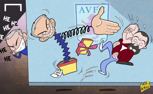 Cartoon: disgraceful handshakes (medium) by omomani tagged mourinho,chelsea,keane