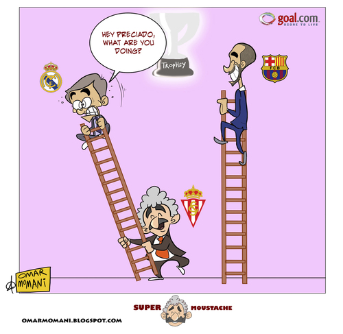 Cartoon: Gijon drops Mourinho (medium) by omomani tagged preciado,mourinho,guardiola,sporting,gijon,real,madrid,barcalona,la,liga,spain,portugal,ladder